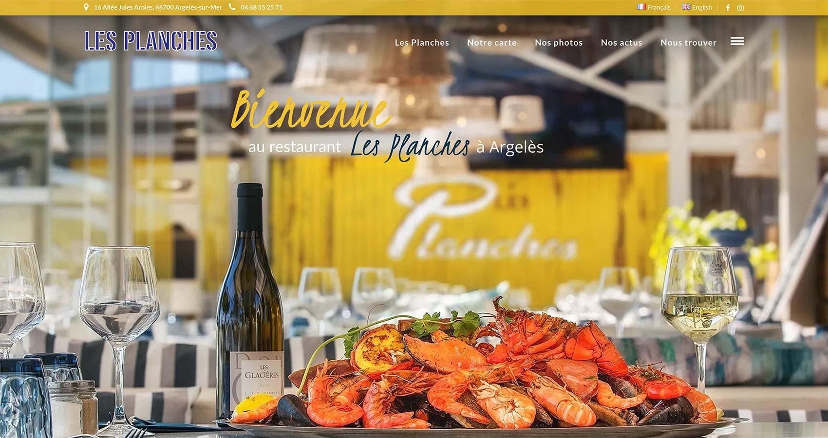Création site web Argelès - Restaurant Les Planches