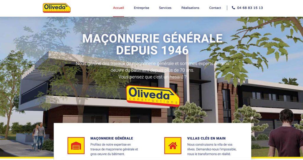 Création site web artisan maçon Oliveda Constructions