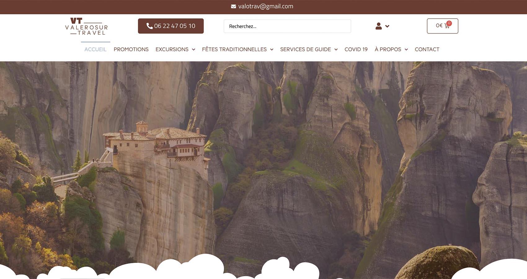 Création site ecommerce Valerosur Travel